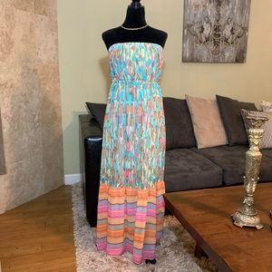 LANE BRYANT Strapless Watercolor Maxi Dress 14/16